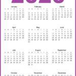 2020 Calendar Printable One Page HD