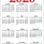 2020 Printable Year Calendars Red, Black and White