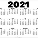 2021 Year Printable Calendar Red, Black and White