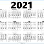 2021 Calendar Printable Free One page