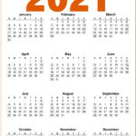 2021 Calendar Printable Free Download