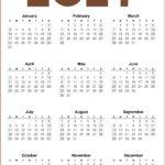 2021 Calendar One Page Printable