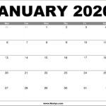 January 2020 Calendar Printable – Free Download