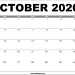 October 2020 Calendar Printable – Free Download