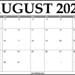 2021 August Calendar Printable – Download Free