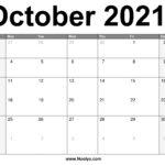 October 2021 Calendar Printable – Free Download