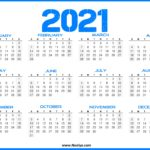 US 2021 Calendar - Printable One Page