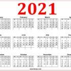Printable Calendar 2021 Week Starting Monday - Red