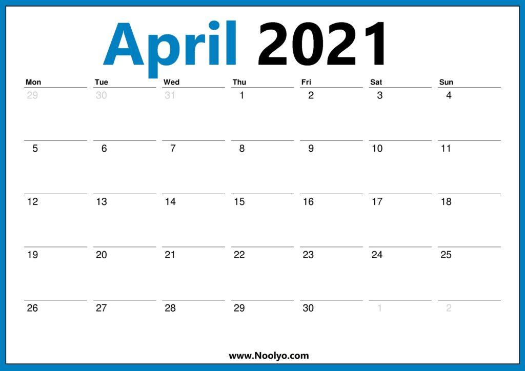 2021 Calendar UK April May June