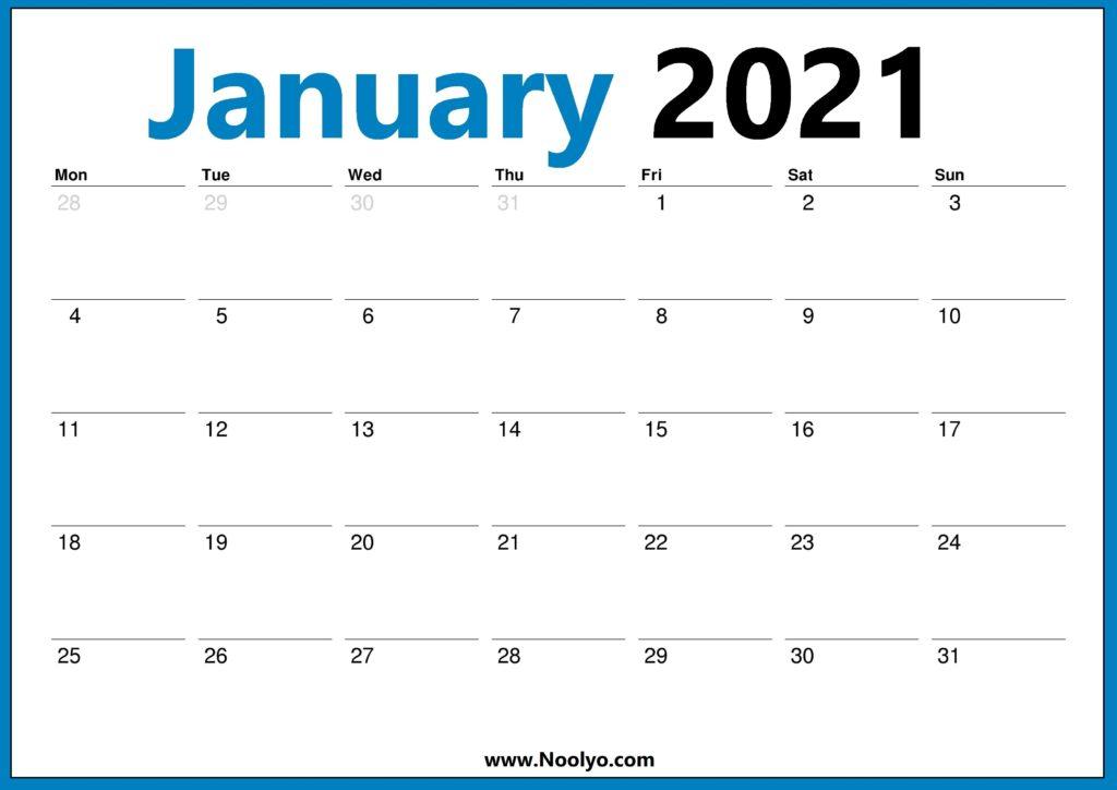 2021 Calendar UK January February March