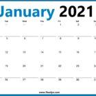 January 2021 Calendar Monday Start