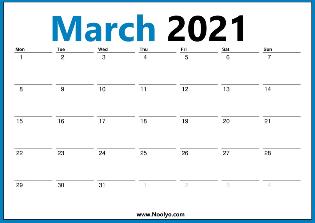March 2021 Calendar Monday Start One Page - Noolyo.com