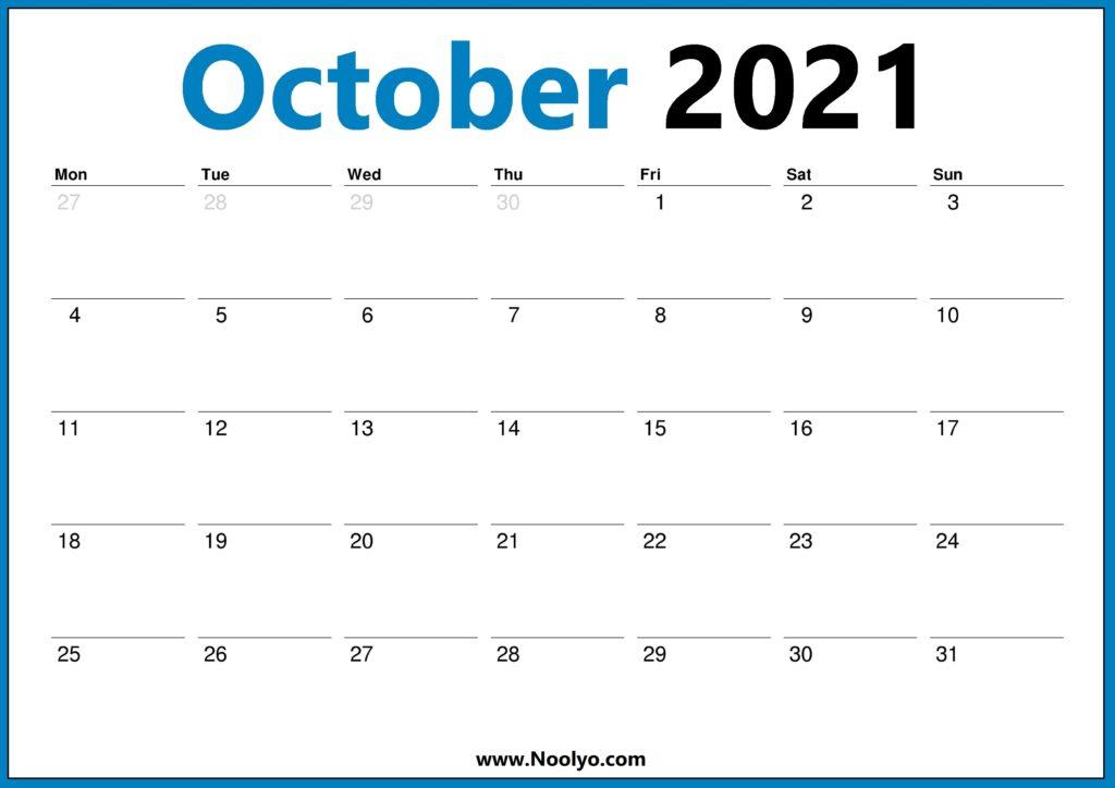 2021 Calendar UK October November December