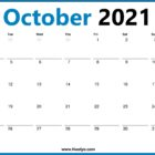 Monday Start 2021 October Calendar One Page Printable
