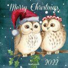Merry Christmas Card - Printable, Free - Owls