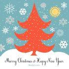 Merry Christmas Card - Printable, Free - Blue