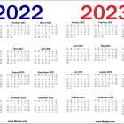 2022 and 2023 Calendar Printable Free