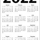 2022 Calendar US Printable – Black and White