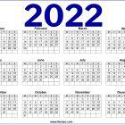 UK 2022 Calendar Printable One Page