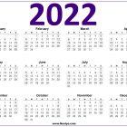 2022 Calendar Printable US – Purple