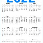 Calendar 2022 Printable One Page – Blue