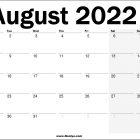2022 UK August Calendar Printable