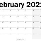 2022 UK February Calendar Free  Printable