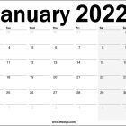 January 2022 UK Printable Calendar