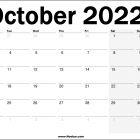 October 2022 UK Calendar Printable