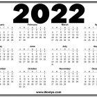 2022 Calendar Printable Sunday Start